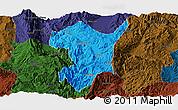 Political Panoramic Map of Shidian, darken