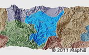 Political Panoramic Map of Shidian, semi-desaturated