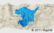 Political Panoramic Map of Shidian, shaded relief outside