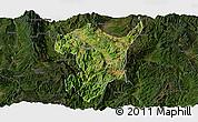 Satellite Panoramic Map of Shidian, darken