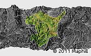 Satellite Panoramic Map of Shidian, desaturated