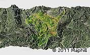 Satellite Panoramic Map of Shidian, semi-desaturated