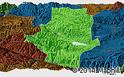 Political Panoramic Map of Shiping, darken