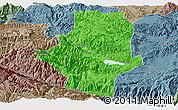 Political Panoramic Map of Shiping, semi-desaturated