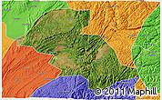 Satellite 3D Map of Shizong, political outside