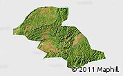 Satellite 3D Map of Shizong, single color outside