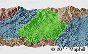 Political Panoramic Map of Shuangjiang, semi-desaturated