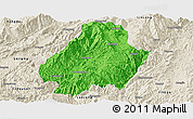 Political Panoramic Map of Shuangjiang, shaded relief outside