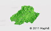 Political Panoramic Map of Shuangjiang, single color outside
