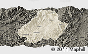 Shaded Relief Panoramic Map of Shuangjiang, darken
