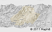 Shaded Relief Panoramic Map of Shuangjiang, desaturated