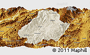 Shaded Relief Panoramic Map of Shuangjiang, physical outside