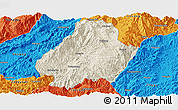 Shaded Relief Panoramic Map of Shuangjiang, political outside