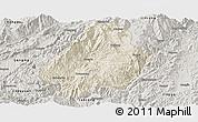 Shaded Relief Panoramic Map of Shuangjiang, semi-desaturated