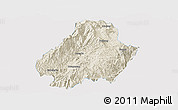 Shaded Relief Panoramic Map of Shuangjiang, single color outside