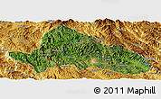 Satellite Panoramic Map of Simao, physical outside