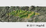 Satellite Panoramic Map of Songming, semi-desaturated