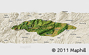 Satellite Panoramic Map of Songming, shaded relief outside