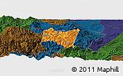 Political Panoramic Map of Suijiang, darken