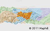 Political Panoramic Map of Suijiang, lighten