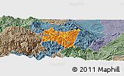 Political Panoramic Map of Suijiang, semi-desaturated