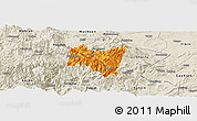 Political Panoramic Map of Suijiang, shaded relief outside