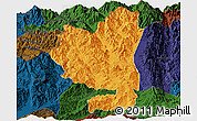 Political Panoramic Map of Tengchong, darken