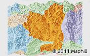 Political Panoramic Map of Tengchong, lighten