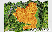 Political Panoramic Map of Tengchong, satellite outside