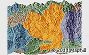 Political Panoramic Map of Tengchong, semi-desaturated
