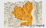 Political Panoramic Map of Tengchong, shaded relief outside