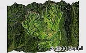 Satellite Panoramic Map of Tengchong, darken