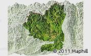 Satellite Panoramic Map of Tengchong, lighten