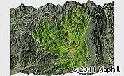Satellite Panoramic Map of Tengchong, semi-desaturated