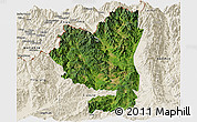 Satellite Panoramic Map of Tengchong, shaded relief outside
