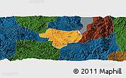 Political Panoramic Map of Tonghai, darken