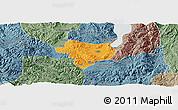 Political Panoramic Map of Tonghai, semi-desaturated
