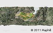 Satellite Panoramic Map of Tonghai, semi-desaturated