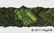 Satellite Panoramic Map of Weishan, darken