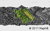Satellite Panoramic Map of Weishan, desaturated