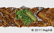 Satellite Panoramic Map of Weishan, physical outside