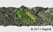 Satellite Panoramic Map of Weishan, semi-desaturated