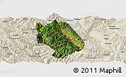 Satellite Panoramic Map of Weishan, shaded relief outside