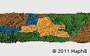 Political Panoramic Map of Weixi, darken