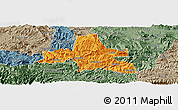 Political Panoramic Map of Weixi, semi-desaturated