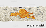 Political Panoramic Map of Weixi, shaded relief outside