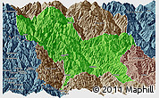 Political Panoramic Map of Weixin, semi-desaturated