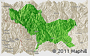 Political Panoramic Map of Weixin, shaded relief outside