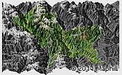 Satellite Panoramic Map of Weixin, desaturated