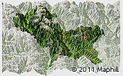 Satellite Panoramic Map of Weixin, lighten